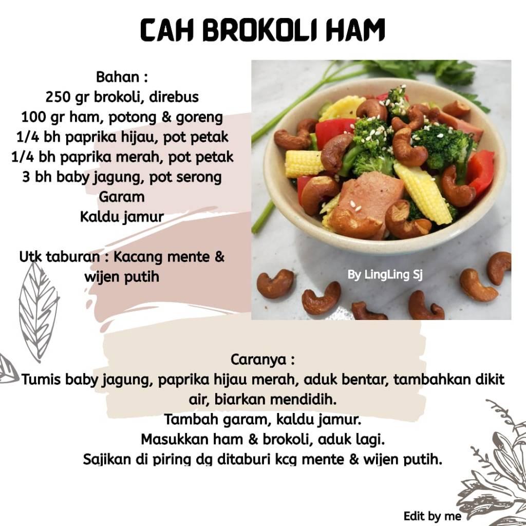 Cah Brokoli Ham Resep Vegetarian Love Peace Veggie